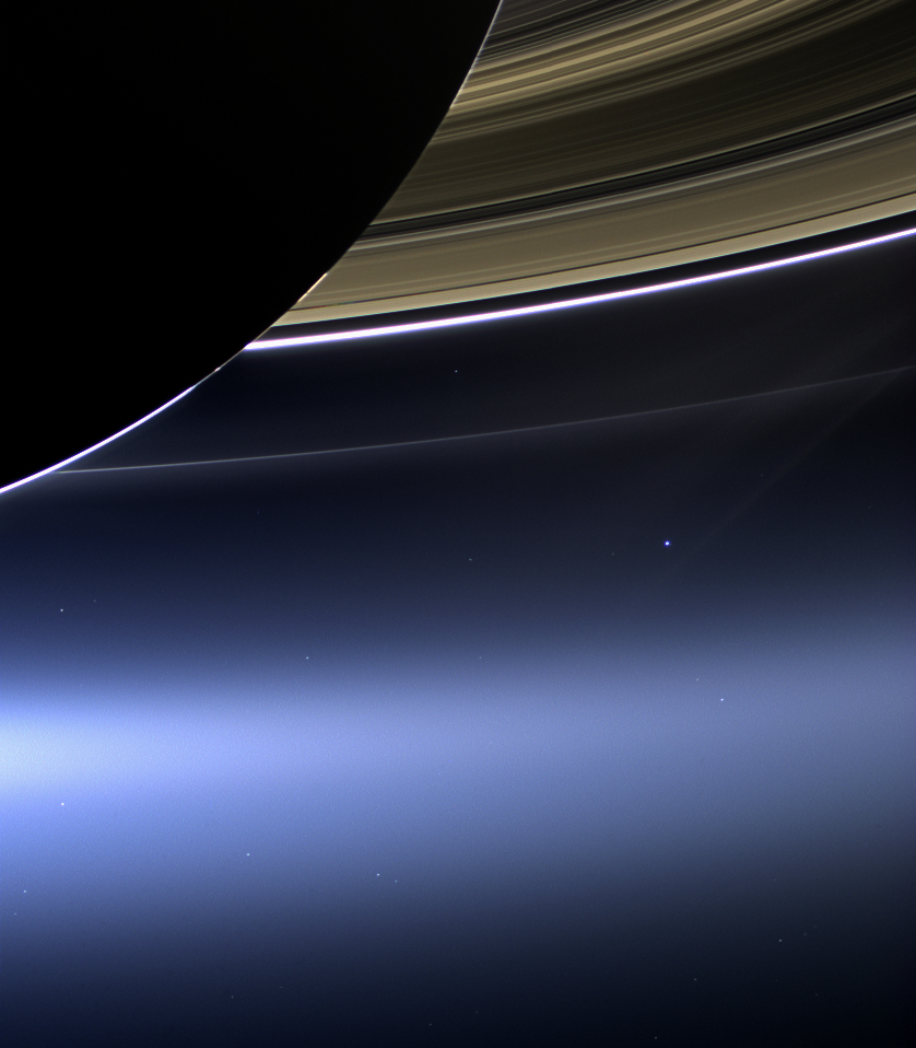 Cassini's pale blue dot image of earth from the rings of saturn