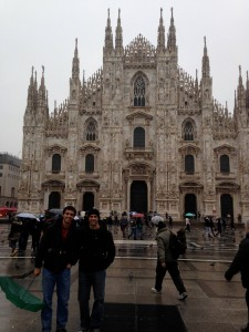 Out in front of Milan's Duomo--the largest cathedral in the city.