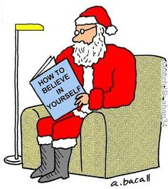 cartoon of santa sitting in a chair reading