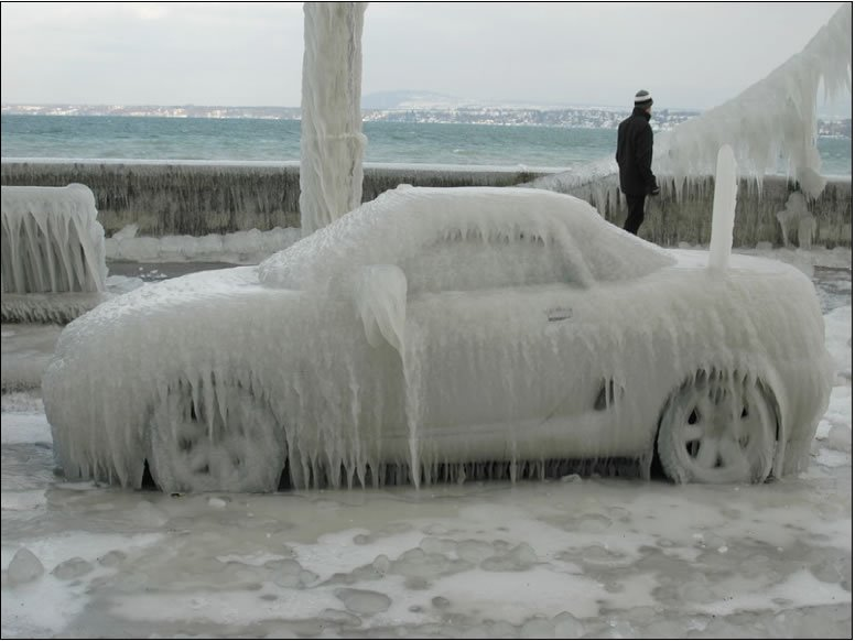 photo of Jake's car covered in ice in Ohio winter