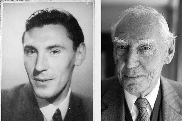 black and white photo of a man young and then old