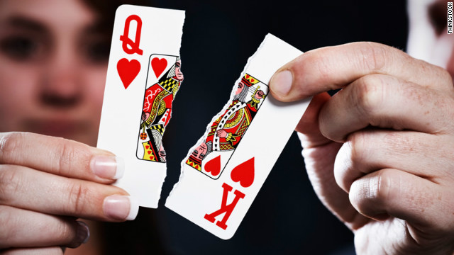 playing card ripped in half