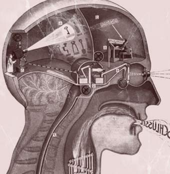 drawing of the head with the brain as machinery inside