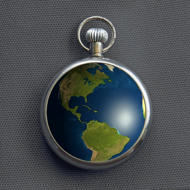 photo of globe inside a stopwatch