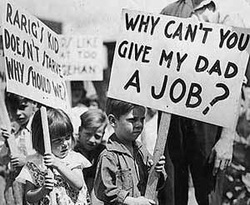"old photo with kid holding sign of ""why can't you give my dad a job?"""