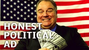 poster of politician with a handful of money