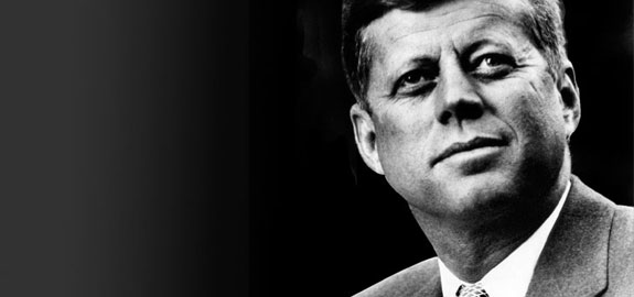 black and white photo of John F. Kennedy