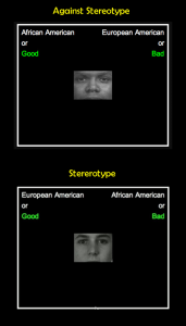 Two example screens of what participants actually see when taking the test
